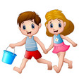 cartoon boy and girl running vector image