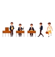 Cartoon school boy standing sitting walking and vector image vector image