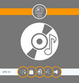 cd dvd with music symbol icon vector image vector image