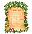 christmas new year 2018 calendar design vector image vector image