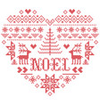 christmas pattern in heart shape with noel word vector image vector image