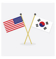 crossed united states and south korea flags icons vector image