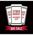 Cyber monday sale design template witn black vector image vector image