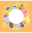Easter carrots and eggs pattern on a orange vector image vector image