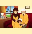 family celebrating eid-al-fitr vector image