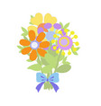 flat bouquet of flowers in graphic style vector image vector image