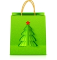 Green Christmas paper bag with fir tree