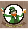Green Leprechaun with beer and Irish flag vector image vector image