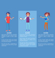 guide in museum with pointer men and woman set vector image