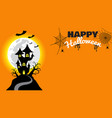 halloween pumpkins and haunted castle on full vector image
