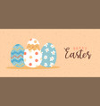 happy easter card funny baby chicken egg vector image