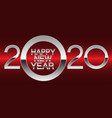 happy new year 2020 silver on red light vector image vector image