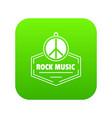 hippie rock music icon green vector image vector image