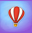 hot air balloon in red and white stripes vector image vector image