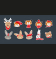 icon set of cute christmas forest animals vector image