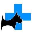 icon with dog and blue medical cross vector image
