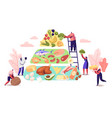 ketogenic diet concept characters set up pyramid vector image
