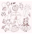 Little girl accessories set doodle sketch vector image vector image