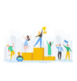man and woman celebrating victory achieving reward vector image vector image