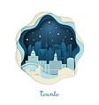 paper art of toronto origami concept night city vector image vector image