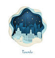 paper art toronto origami concept night city vector image vector image