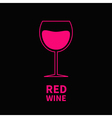 Pink wine glass Black background vector image vector image
