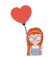 Pretty girl with hairstyle and heart balloon