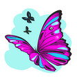 purple butterfly against sky vector image vector image