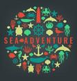 sea icons and symbols set sea animals nautical vector image vector image