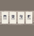 set business cards on theme coffee vector image