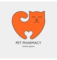Single logo with a cat in a heart shape vector image vector image