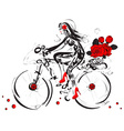 Sketch of a Girl Cycling with a Basket of Roses vector image vector image