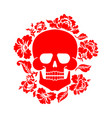 skull and flowers skeleton head and roses death vector image vector image