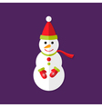Snowman with Santa Hat Christmas Flat Icon vector image vector image