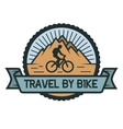 Traveling by bicycle emblem vector image vector image