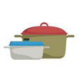 two saucepans with handle kitchen equipment vector image vector image