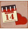 Vintage background with a calendar and a red heart vector image vector image