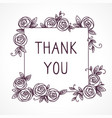 vintage cute floral frame thank you vector image