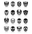 Lucha libre luchador mexican wrestling black mask vector image