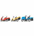 set of tractor lawnmower vector image
