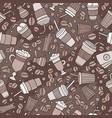 cartoon hand-drawn coffee shop seamless pattern vector image