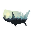 abstract city skyline with sights of the usa at vector image vector image