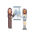 arabic man and woman doing presentation vector image vector image