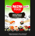 asian sushi food japanese cuisine rolls and maki vector image vector image