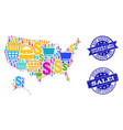 best shopping collage of mosaic map of usa and vector image