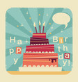 birthday sweet cakeretro card on old paper backgro vector image vector image