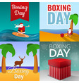 boxing day banner set cartoon style vector image vector image