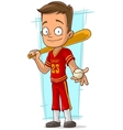 Cartoon baseball player in red uniform vector image vector image