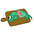 Cartoon fish on wooden cutting board vector image