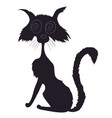 cat halloween drawing silhouette vector image vector image